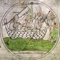St Guthlac arriving at Croyland