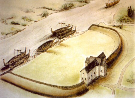 Artist's impression of the defences constructed by the Vikings at Repton in the winter of 873-4 AD.  The Anglian church forms the central strongpoint of the ditched and banked enclosure, while longships moor in the River Trent to the north.