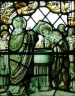 A panel in the McMaster window claims to depict the baptism of Prince Penda by Bishop Finan of Lindisfarne.